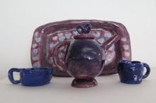 Hand-built clay tea set created at the Neighborhood Art House