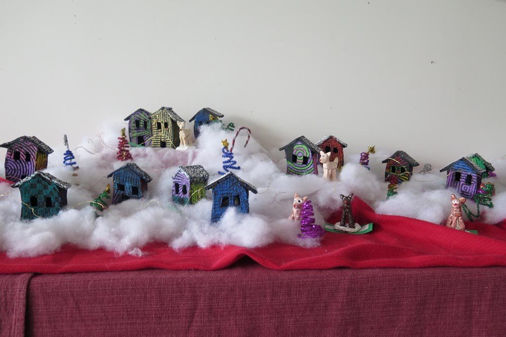 Air Dry Clay with Paint. Collaborative project by clay students (ages 7-14) - 2017
