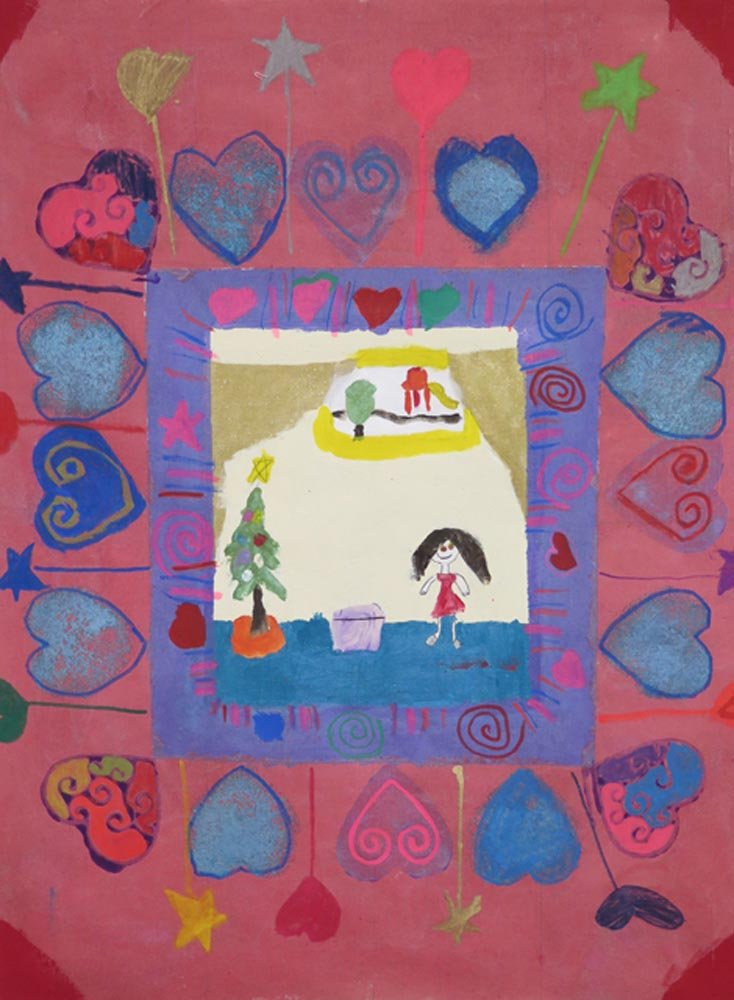 Mixed Media Painting on Fabric. Dziana (age 9) - 2017