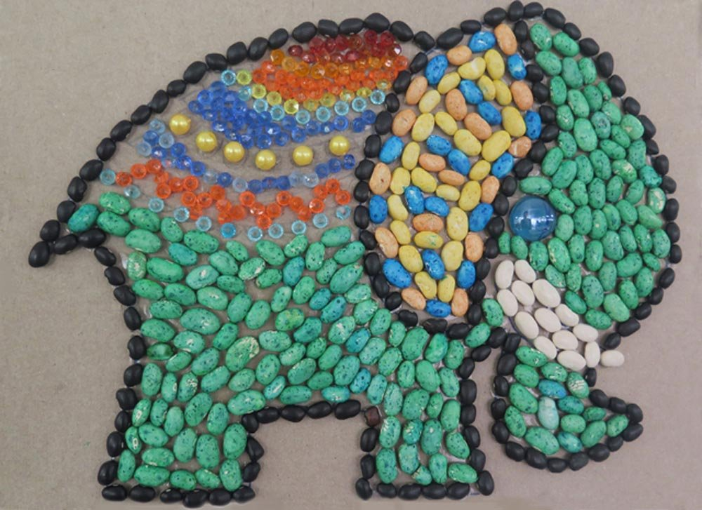 Mosaic with colored beans and beads. Kyla (age 11) - 2016