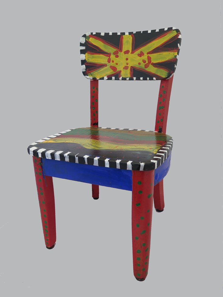 Acrylic Painted Chair.  Garang (age 11) - 2018