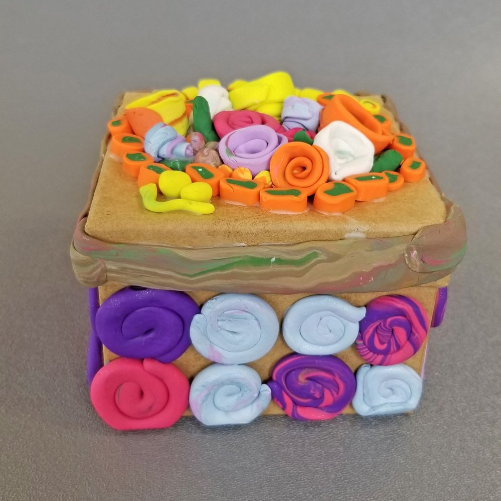 Polymer Clay Covered Box.  Rawan (age 8) - 2019