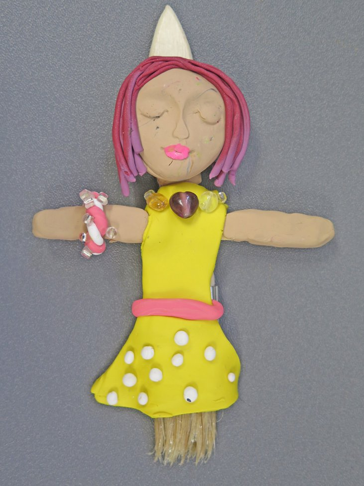 Polymer Clay and Paintbrush Figure. Ariana (age 11) - 2019