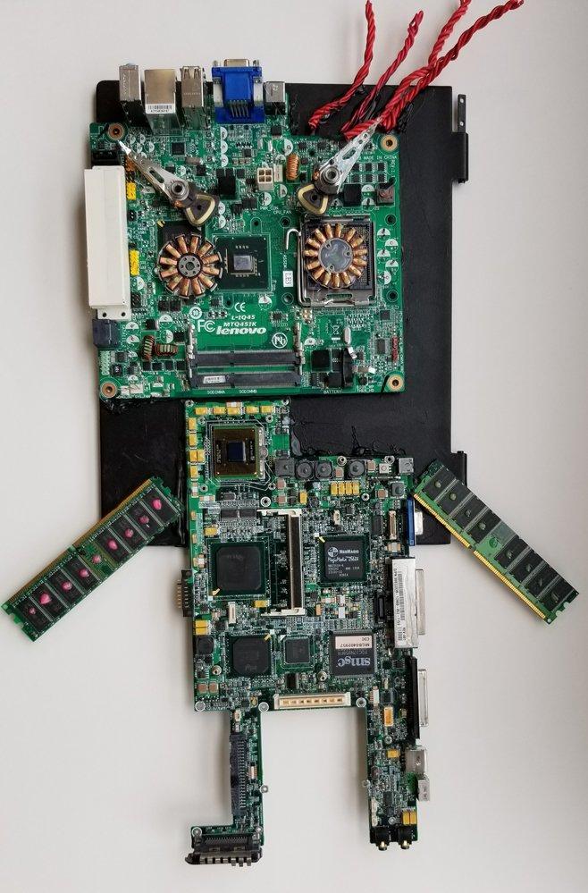 Repurposed Computer Parts Sculpture. Keshaun (age 9) - 2019
