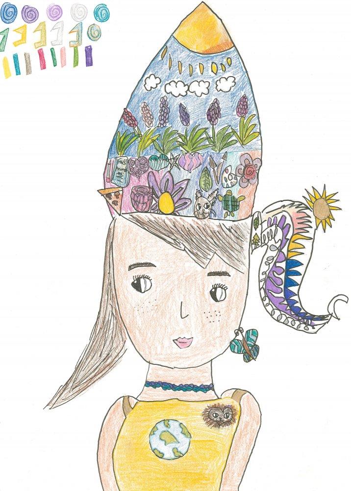 Colored Pencil and Art Pens. Svetlana (age 12) - 2019