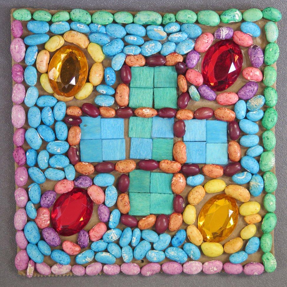 Bean and Rhinestone Mosaic. LeDanian (age 13) - 2019