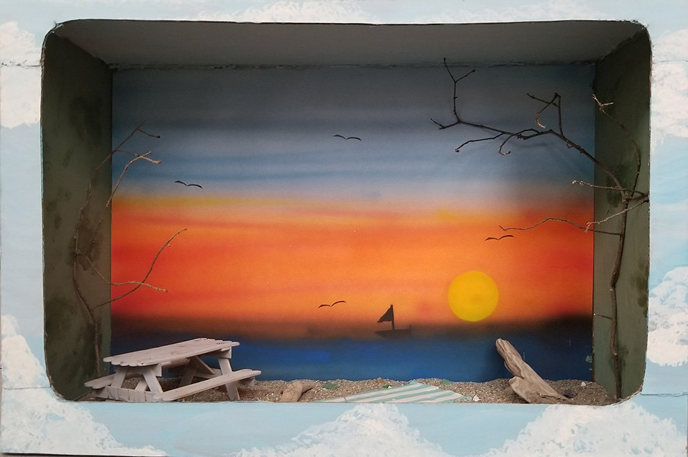 Diorama with airbrush, found materials and popsicle sticks. Sophie (age 12)