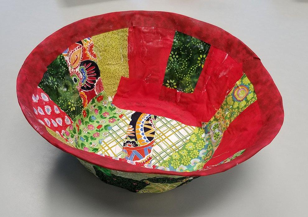 Paper Mache Bowl with Fabric. Estella (age 12) - 2020