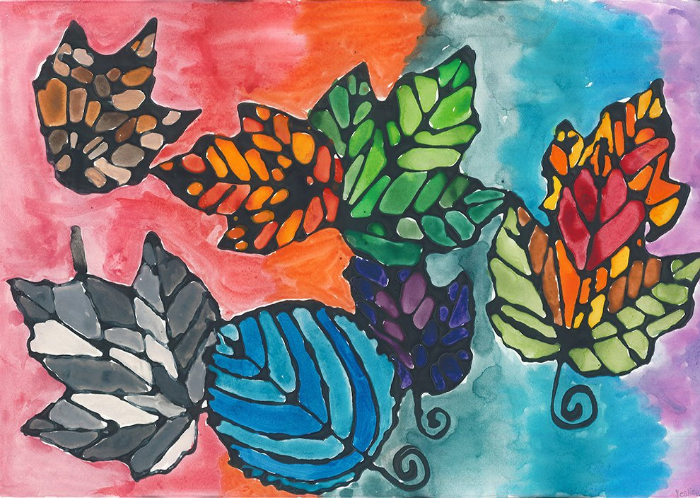 Watercolor and Colored Glue. Yeslian (age 13) - 2020
