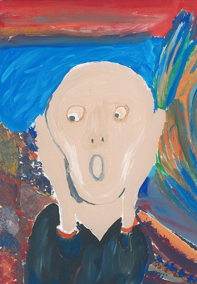 Acrylic Paintingin the Style of Edvard Munch. Estella (age 13) - 2020
