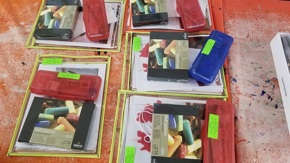 Pastel class supply kits.