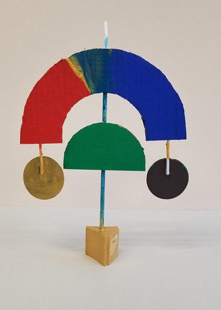 Cardboard, Paint, Found Objects. Jayden (age 10) - 2021