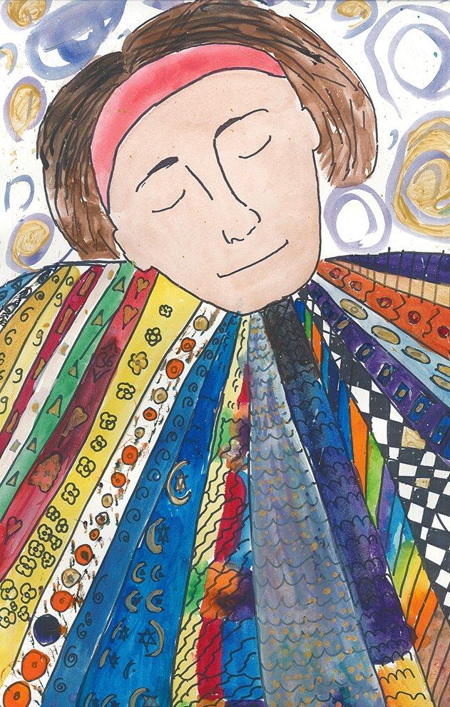 Marker and Watercolor. Estella (age 13) - 2021